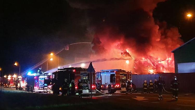 Płonie hala w Bogumiłowie. Kilkanaście zastępów straży walczy z ogniem [FOTO][VIDEO] - Zdjęcie główne