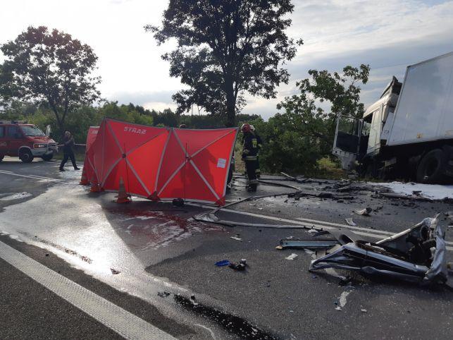 Tragiczny wypadek w Osjakowie. Samochód spłonął, kierowca nie żyje [FOTO] - Zdjęcie główne