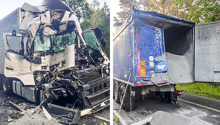 Kabina ciężarówki kompletnie zmiażdona po zderzeniu. Za kierownicą pijany obcokrajowiec - Zdjęcie główne