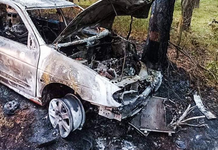 Wypadł z drogi pod Bechatowem i uderzył w drzewo. Auto stanęło w płomieniach - Zdjęcie główne