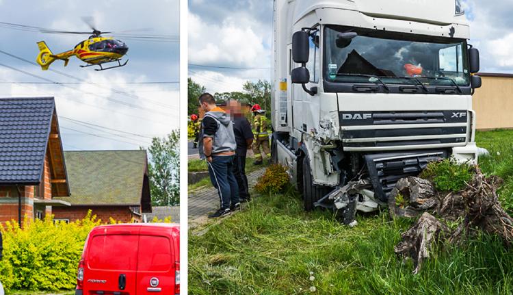 TiR staranował osobówkę, wezwano śmigłowiec LPR. Wypadek na drodze koło Wadlewa  [FOTO] - Zdjęcie główne