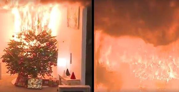 [WIDEO] Od zwarcia lampek do pożaru domu - wystarczyło 30 sekund - Zdjęcie główne