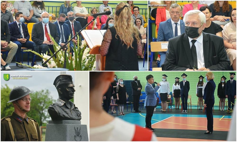 [ZDJĘCIA] Historyczna chwila dla szkoły z powiatu kutnowskiego. Odsłonięto pomnik patrona  - Zdjęcie główne