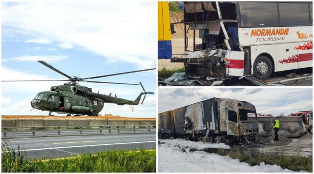 [ZDJĘCIA] Straszny wypadek, rannych ok. 30 osób. Poderwali wojskowy śmigłowiec z Łęczycy - Zdjęcie główne