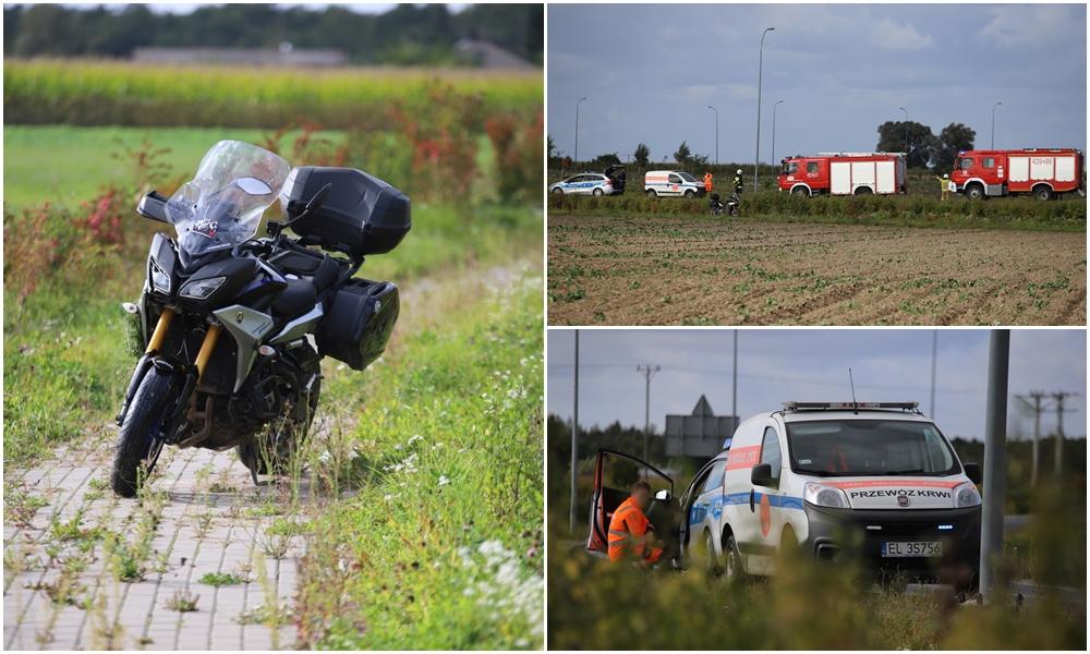Wypadek na rondzie pod Kutnem, ranny motocyklista [ZDJĘCIA] - Zdjęcie główne