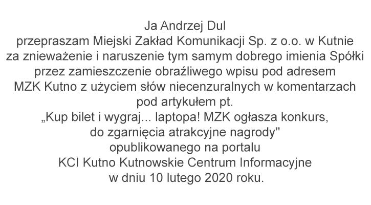Pan Andrzej Dul przeprasza Miejski Zakład Komunikacji Sp. z o.o. w Kutnie.  - Zdjęcie główne