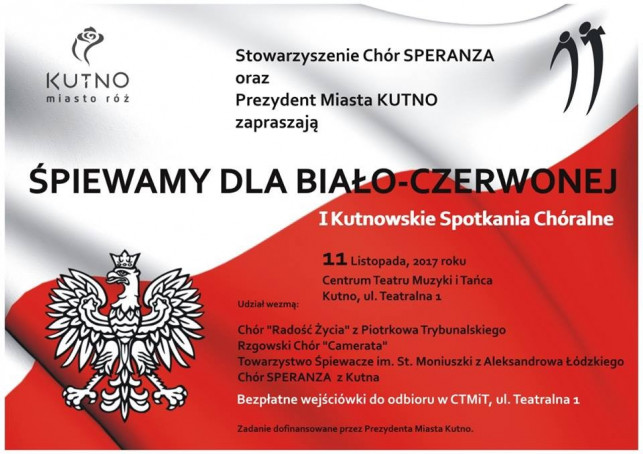 """I Kutnowskie Spotkania Chóralne """"Śpiewamy dla Biało-Czerwonej"""" - Zdjęcie główne"""