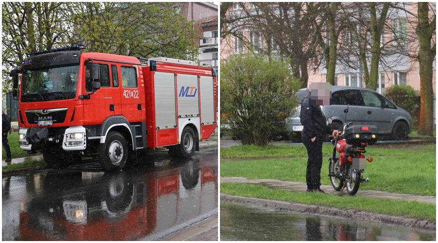 [ZDJĘCIA] Kraksa z udziałem motocyklisty w powiecie kutnowskim. Na miejscu policja i straż  - Zdjęcie główne