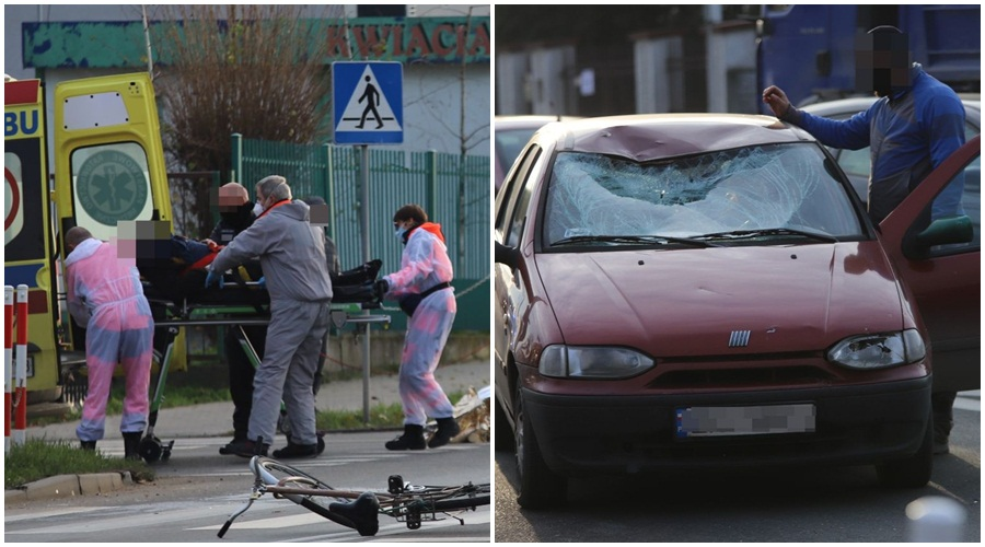 [FOTO] Kutno: Pijany rowerzysta wjechał na przejście dla pieszych. Potrącił go samochód - Zdjęcie główne