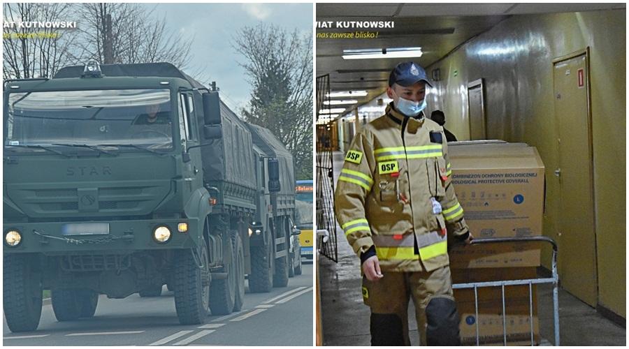 [ZDJĘCIA] Wojsko i straż w kutnowskim szpitalu. Przywieźli do nas sprzęt za kilkaset tysięcy złotych! - Zdjęcie główne