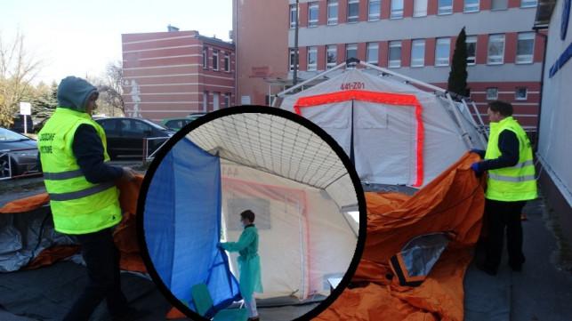 [ZDJĘCIA] Drugi namiot rozstawiony przy szpitalu. Jak wygląda w środku? - Zdjęcie główne