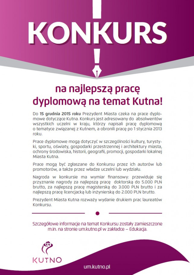 Konkurs na najlepszą pracę dyplomową na temat Kutna! - Zdjęcie główne