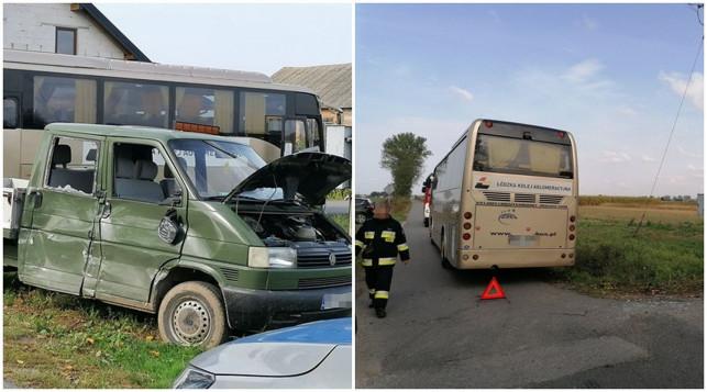 [ZDJĘCIA] Autobus zderzył się z samochodem dostawczym. Trwa akcja służb - Zdjęcie główne