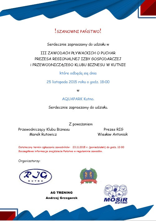 III Zawody Pływackie o Puchar Prezesa RIG i Przewodniczącego Klubu Biznesu w Kutnie - Zdjęcie główne