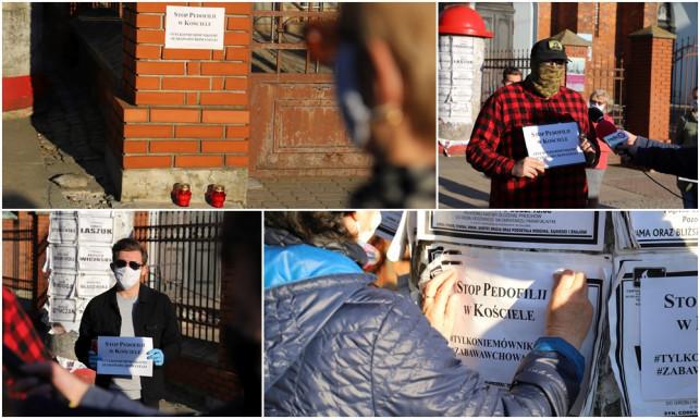 [ZDJĘCIA] Pod Wawrzyńcem zapłonęły znicze. ''Stop pedofilii w kościele'' - Zdjęcie główne
