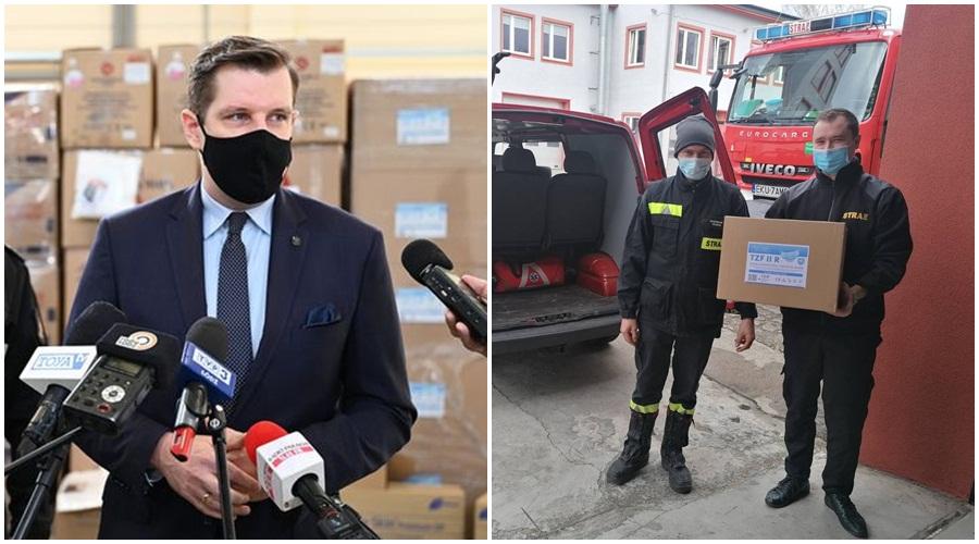 [ZDJĘCIA] Kutnowscy strażacy i wojewoda ramię w ramię. Do mieszkańców trafia wsparcie - Zdjęcie główne