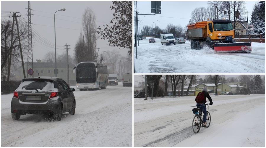 """[ZDJĘCIA] Atak zimy w Kutnie. """"Drogowcy walczą ze śniegiem od samego rana"""" - Zdjęcie główne"""