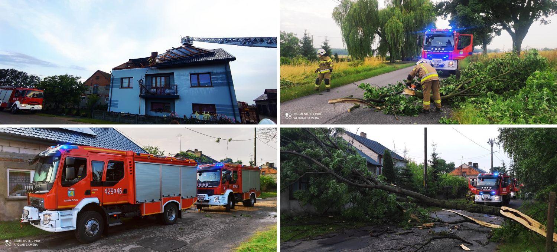 [ZDJĘCIA] Połamane drzewa, zerwane dachy i liczne interwencje straży. Przez powiat kutnowski przeszła nawałnica  - Zdjęcie główne