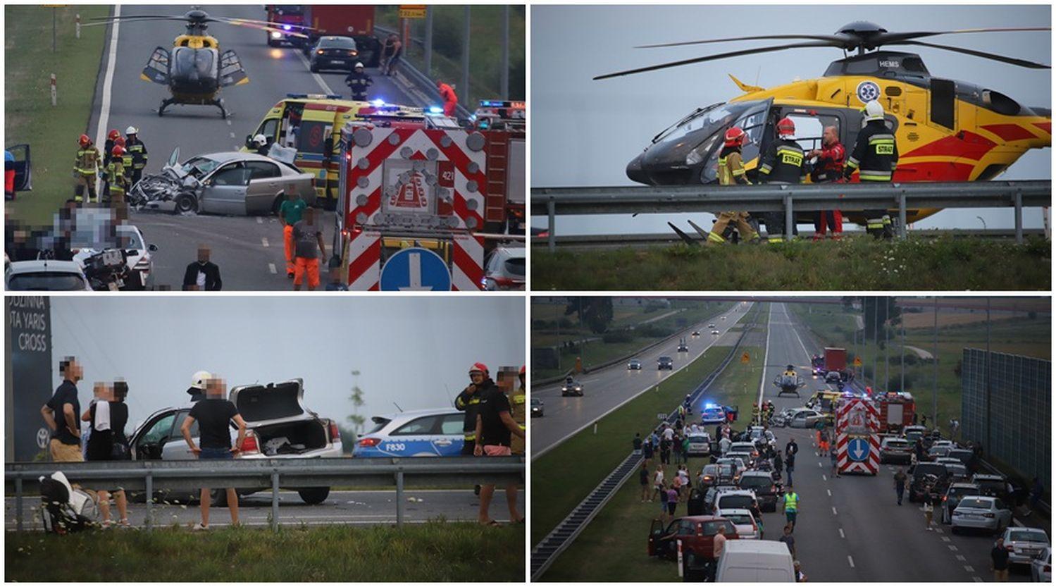Osobówka zderzyła się z ciężarówką: na autostradzie pod Kutnem lądował śmigłowiec. Wśród poszkodowanych dziecko [ZDJĘCIA] - Zdjęcie główne