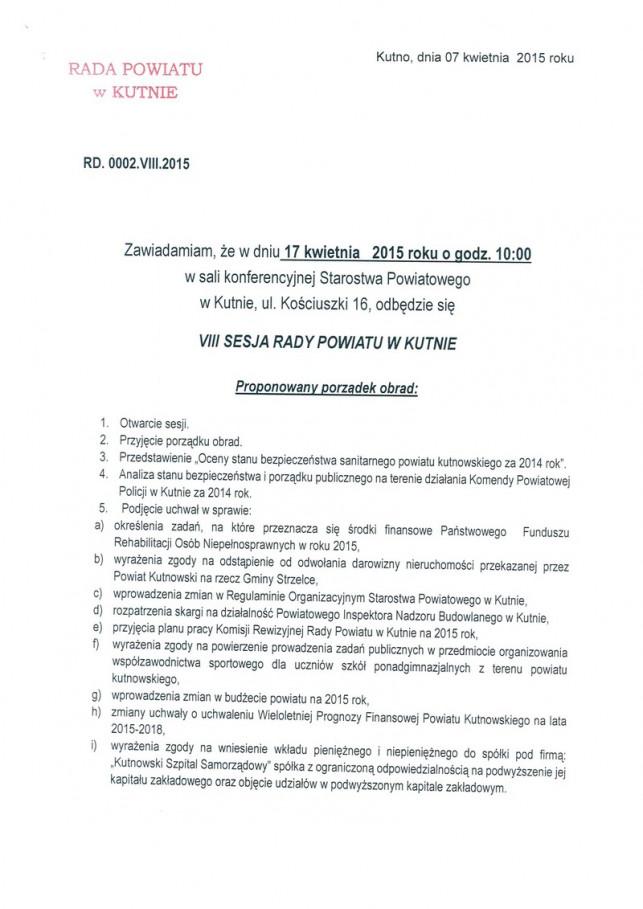 VIII Sesja Rady Powiatu w Kutnie - Zdjęcie główne