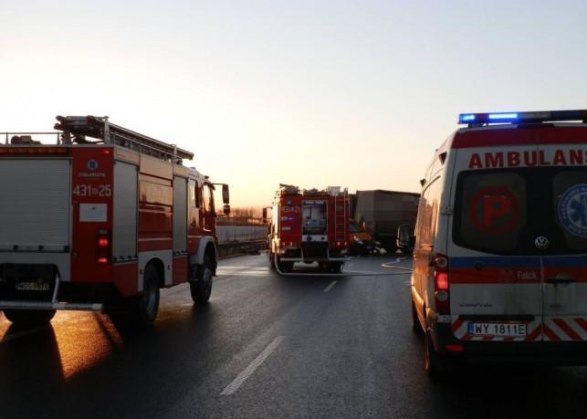 Niebezpiecznie na A1. Strażacy z Kutna na pomoc w sąsiednim powiecie - Zdjęcie główne