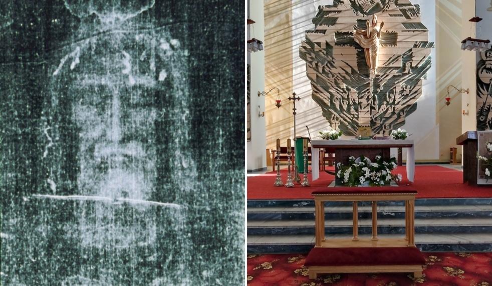 Replika Całunu Turyńskiego na rekolekcjach w kutnowskiej parafii. Będzie wystawiona do publicznej adoracji - Zdjęcie główne