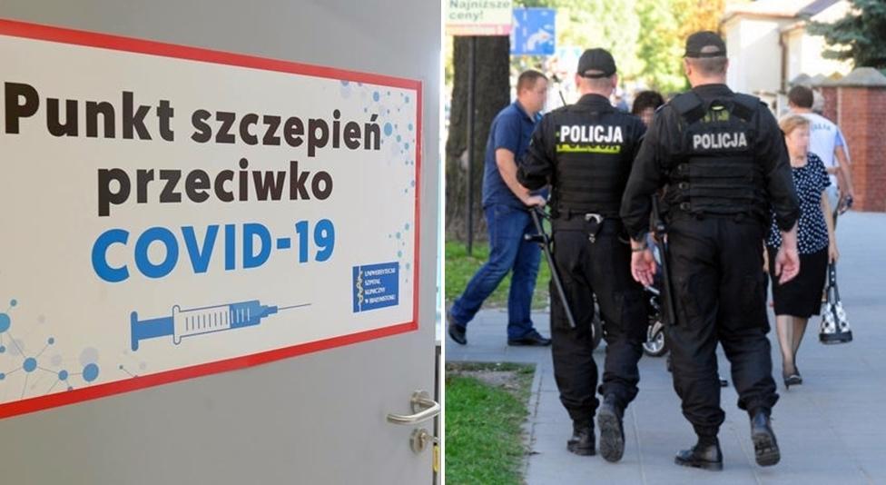 """Kutnowscy policjanci ochraniają punkty szczepień. """"To efekt agresji środowisk atyszczepionkowców"""" - Zdjęcie główne"""