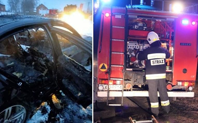 [FOTO] Akcja strażaków pod Kutnem. BMW spłonęło doszczętnie - Zdjęcie główne