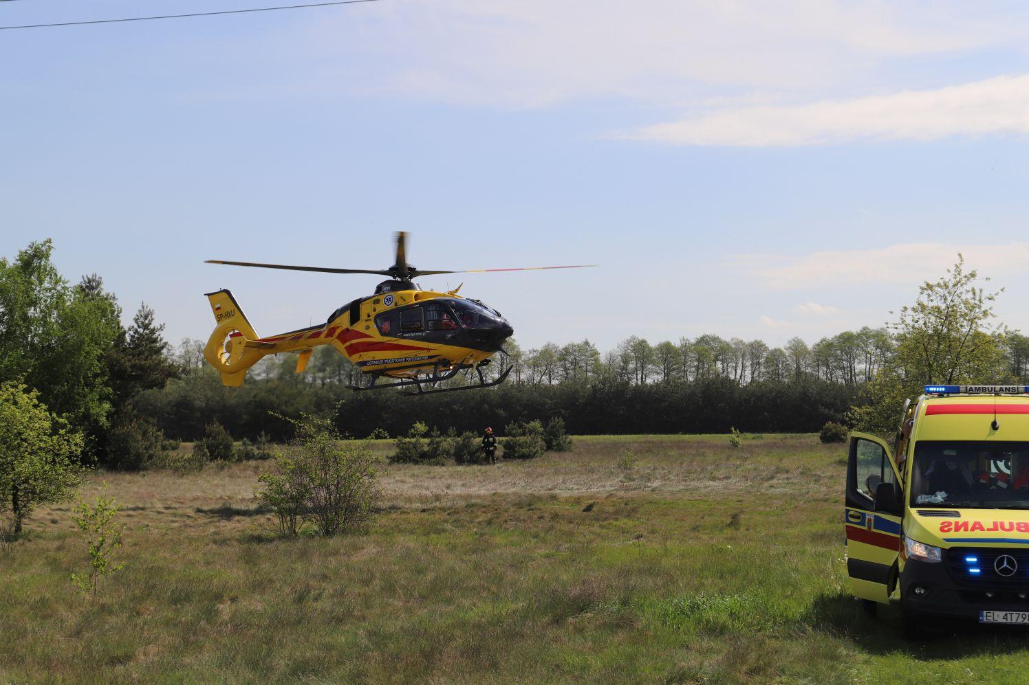 13-latek spadł z motocykla. Pod Kutnem lądował śmigłowiec pogotowia - Zdjęcie główne