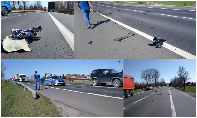 [ZDJĘCIA] Kraksa na krajowej 92. Kierowca passata uciekł z miejsca zdarzenia - Zdjęcie główne