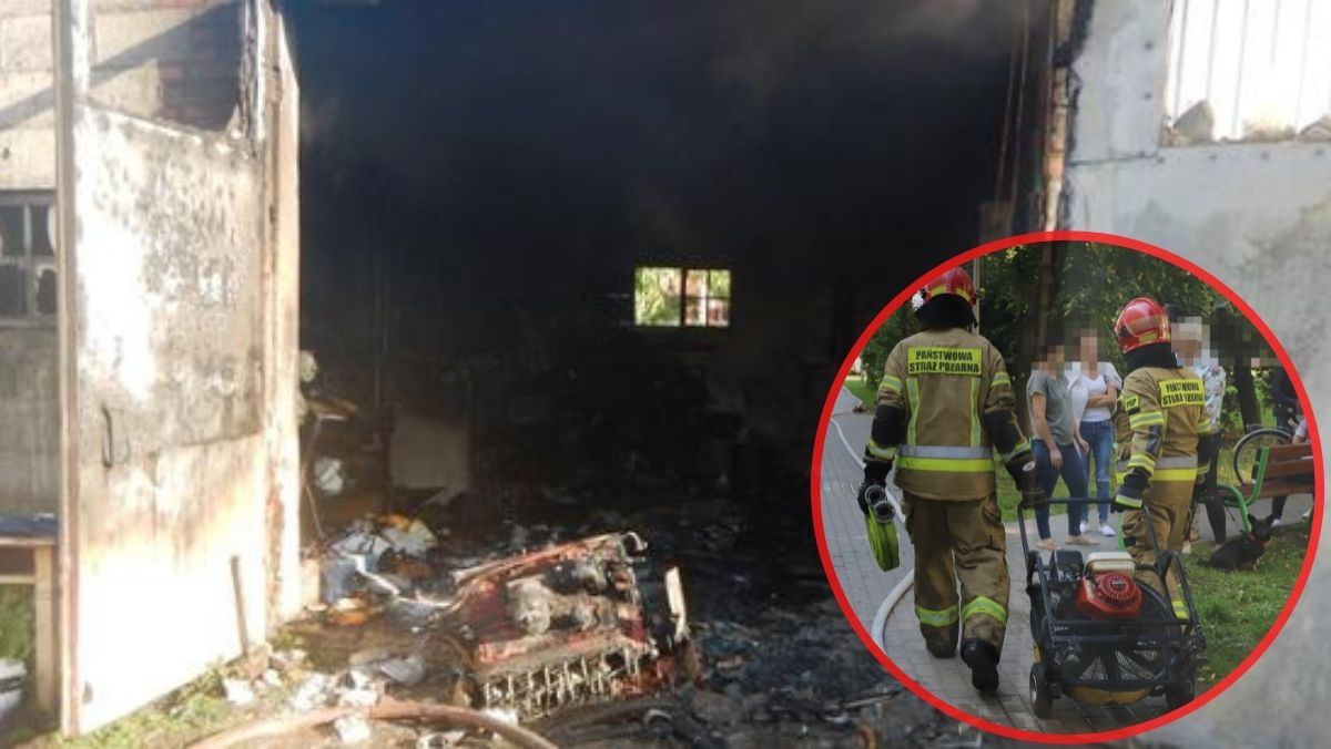 Ponad 20 strażaków walczyło z pożarem w gospodarstwie. W ogniu stanął garaż [ZDJĘCIA] - Zdjęcie główne