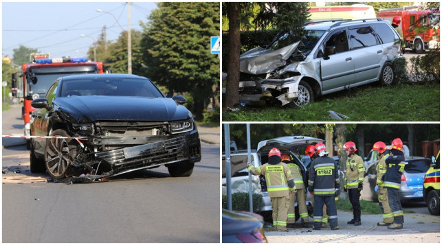[ZDJĘCIA] Wypadek na skrzyżowaniu, jeden z samochodów uderzył w drzewo - Zdjęcie główne