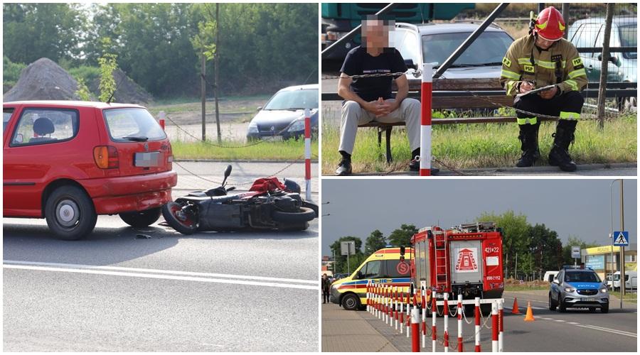 Zderzenie skutera i samochodu. Jedna osoba ranna [ZDJĘCIA] - Zdjęcie główne