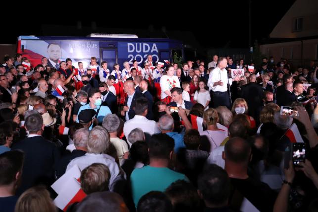 [ZDJĘCIA/WIDEO] Andrzej Duda w Strzelcach. Zagrzewał do boju swoich wyborców - Zdjęcie główne