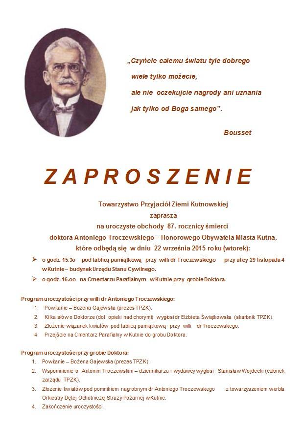 Obchody 87. rocznicy śmierci  doktora Antoniego Troczewskiego  - Zdjęcie główne