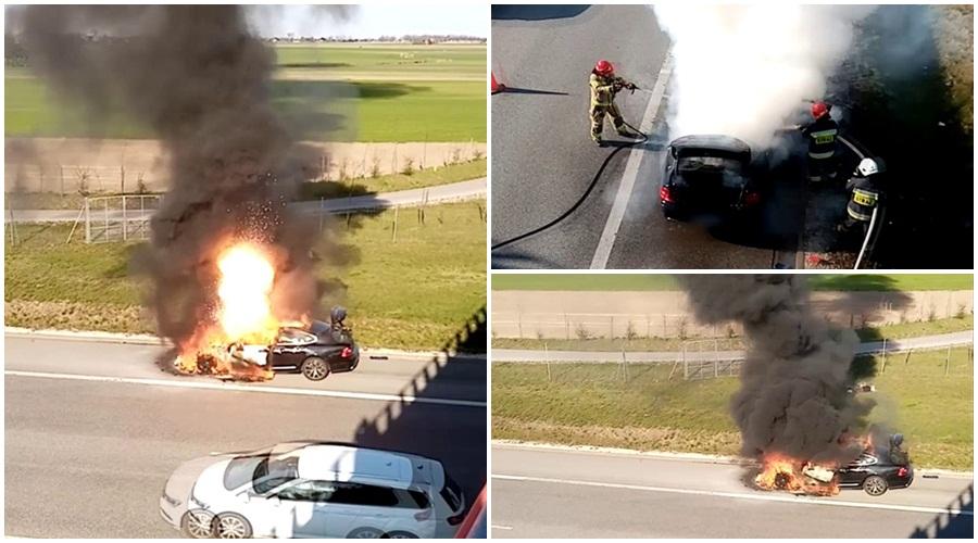 [ZDJĘCIA/WIDEO] Pod Kutnem spalił się samochód wart 200 tysięcy złotych. Mamy nagranie - Zdjęcie główne