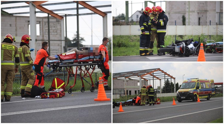 Wypadek z udziałem motocyklisty pod Kutnem. Ranny mężczyzna w szpitalu [ZDJĘCIA] - Zdjęcie główne