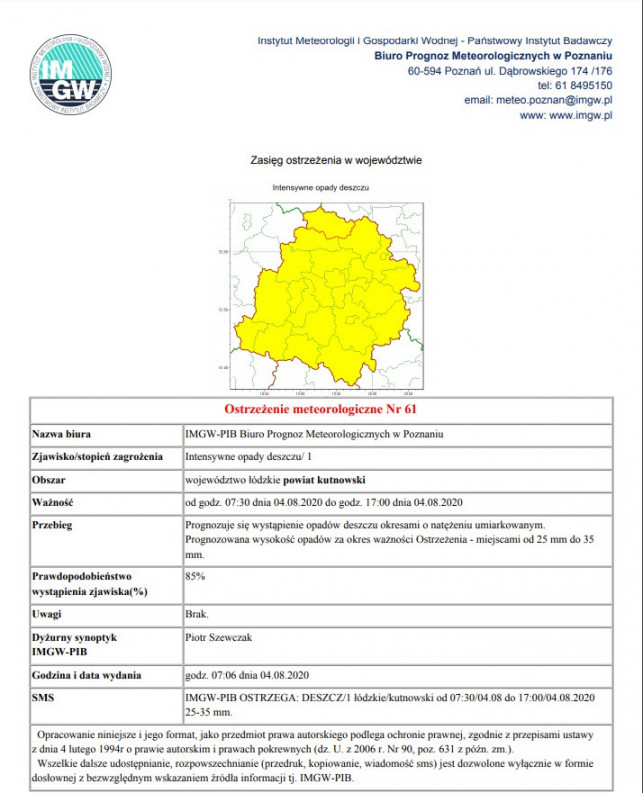 Intensywne opady w powiecie kutnowskim. Meteorolodzy ostrzegają - Zdjęcie główne