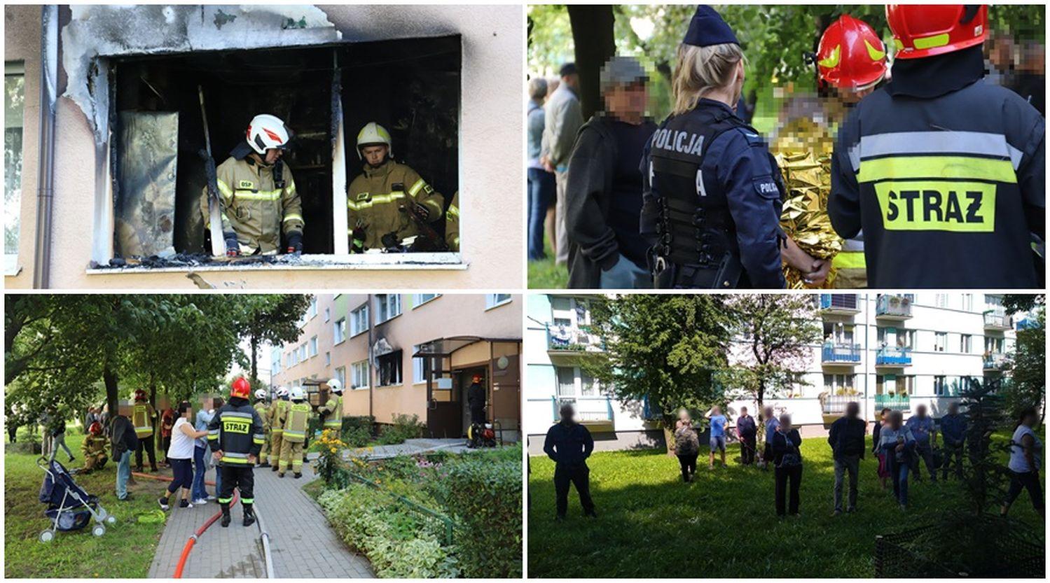 Pożar w bloku w Kutnie. Ewakuowano mieszkańców [ZDJĘCIA] - Zdjęcie główne