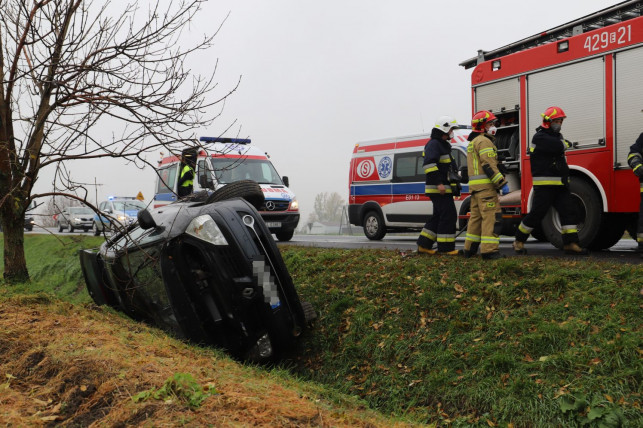 [ZDJĘCIA] Samochód w rowie pod Kutnem. Na miejscu karetki, straż i policja - Zdjęcie główne