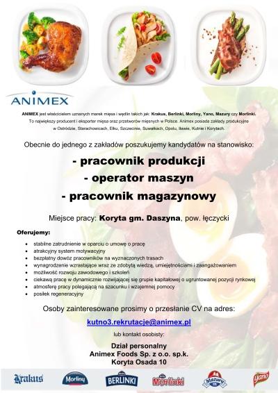 Animex K3 Daszyna - Rekrutacja - Zdjęcie główne