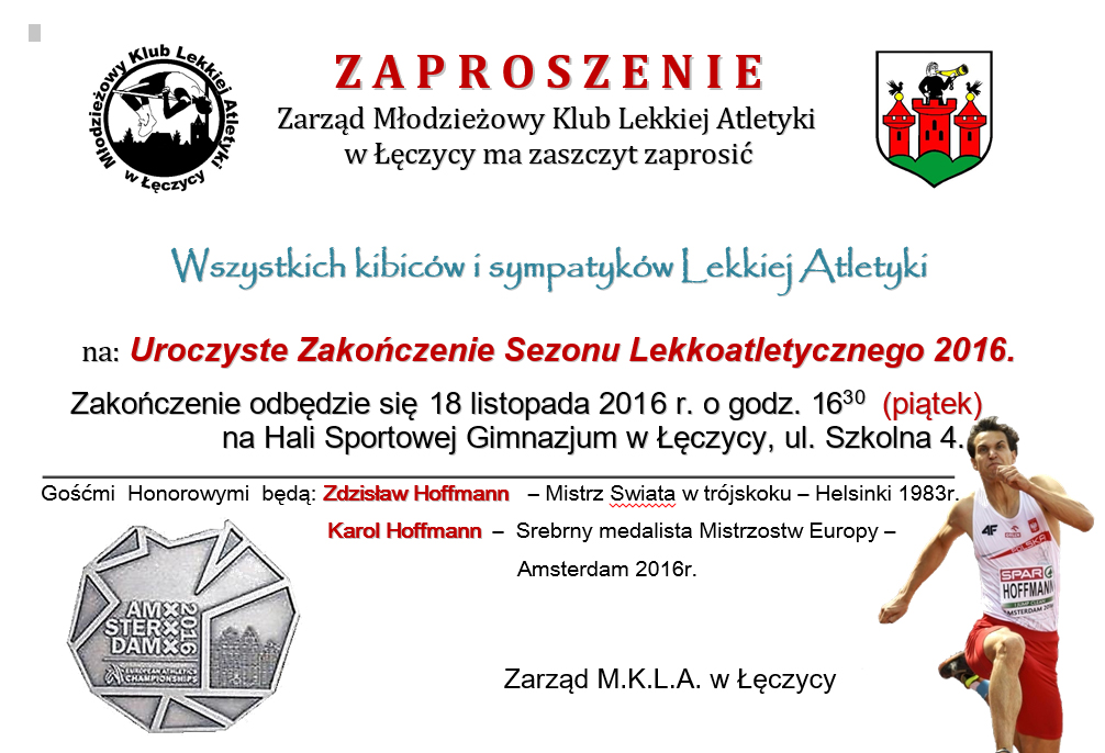 Uroczyste zakończenie Sezonu Lekkoatletycznego 2016 w Łęczycy - Zdjęcie główne