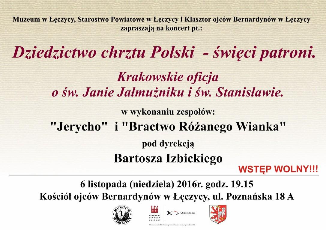 """Zaproszenie na koncert """"Dziedzictwo chrztu Polski""""  - Zdjęcie główne"""