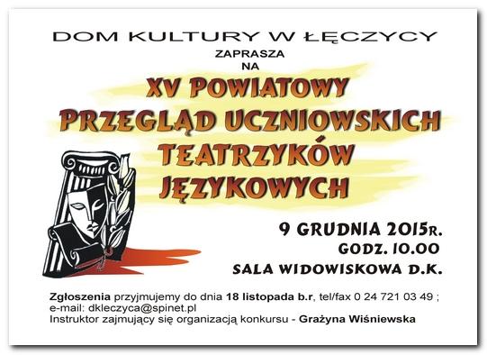 XV Powiatowy Przegląd Uczniowskich Teatrzyków Językowych - Zdjęcie główne