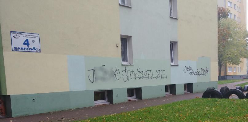Wulgarny napis na ścianie bloku. To już kolejny raz...  - Zdjęcie główne