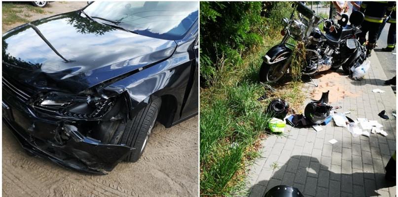 Zderzenie motocykla i samochodu osobowego. Dwie osoby poszkodowane w wypadku - Zdjęcie główne