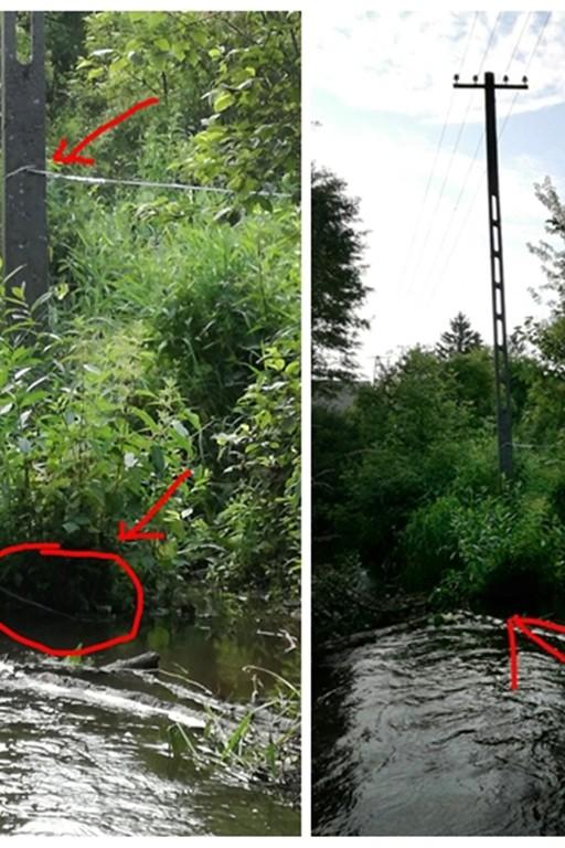 Pochylony słup w rzece - Zdjęcie główne