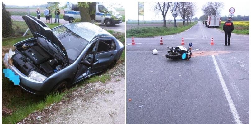 Zderzenie samochodu z motocyklem [FOTO] - Zdjęcie główne