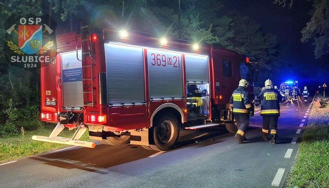 Nocna akcja strażaków. Powalone drzewo i trzy uszkodzone auta [ZDJĘCIA] - Zdjęcie główne