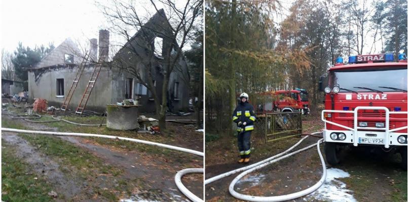 Nad ranem palił się dom. Niewiele z niego zostało [FOTO] - Zdjęcie główne